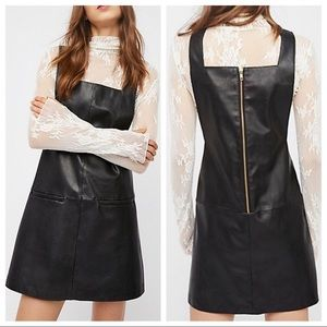 Free people vegan leather jumper pinafore dress